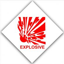 1 x Explosive-Red on White,External Self Adhesive Warning Stickers-Explosives Health and Safety Sign